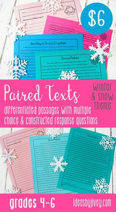 "Use these differentiated paired passages with your students to integrate high-interest, engaging informational passages about snow: one about how it forms and one about the first photographer to capture snowflakes on film; passages about winter sports- one about how to ski and one about sled safety; and the Russian Fairy Tale, ""King Frost"" along with an informational passage about frost. #pairedtexts #readingactivities #fourthgrade #fifthgrade #sixthgrade"