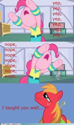 Big Mac is proud of pinkie pie My Little Pony Comic, My Little Pony Pictures, Pinkie Pie, Big Macintosh, Mlp Memes, Mlp Comics, Little Poney, Mlp Pony, Lol