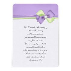 Purple and Green Ribbons and Bow Reception Only