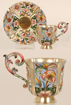 A Russian silver gilt and cloisonné enamel cup and saucer, Maria Semenova, Moscow, 1896-1908. Both cup and saucer worked in four alternating panels of vivid stylized floral and foliate motifs with raised silver beads against either cream or light blue grounds, the elaborate scrolling handle similarly decorated. #tea #teacup