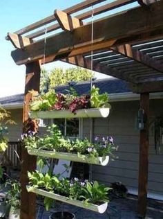 Garden & Landscaping : Inspiring small garden gutter garden design with crops by using the pipe cut in half and made hanging to utilize the narrow space picture - a part of Design A Small Place To Grow A Variety Of Plants That Easily Treated Diy Garden, Dream Garden, Garden Projects, Garden Landscaping, Home And Garden, Diy Projects, Recycled Garden, Porch Garden, Garden Oasis