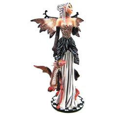 Stunning Formal Forest Fairy W/ Pet Dragon Statue