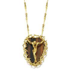 Tiger's eye necklace, 'Christo de San Juan de la Cruz', Salvador Dalí - Estimate: $7,431 - 10,403