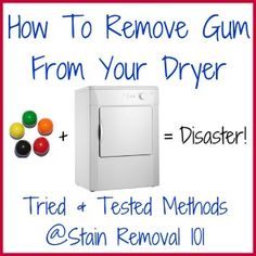 Have you ever needed to know about gum removal from the dryer?  It actually happens more often than you might think that a child has gum in the pockets