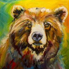 New Bear in Town by Diane whitehead Oil ~ 30 x 30  http://dianewhitehead.com/