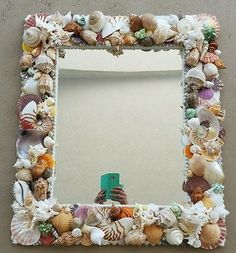 "Rectangular Seashell Mirror.Coastal  decor 26"" x30"""