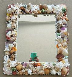 "Rectangular Seashell Mirror.Coastal  decor 26"" x30"""