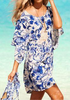Blue-White Floral Print Dolman Sleeve Dress - Mini Dresses - Dresses
