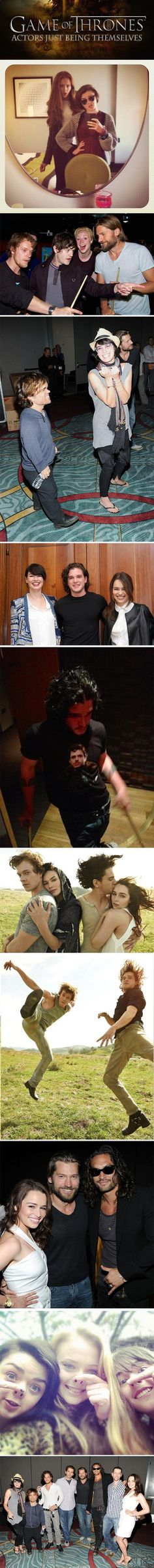Game of Thrones actors just being themselves.  Can I be friends with you too?