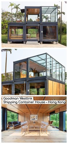 Goodman Westlink Shipping Container House – Hong Kong Containers are multifaceted; a strong symbol of a logistics company and a celebrator of sustainable architecture. Architecture Durable, Sustainable Architecture, Residential Architecture, Modern Architecture, Sustainable Houses, London Architecture, Sustainable Fashion, Container Home Designs, Building A Container Home