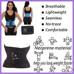Shapewear Hot Power Belt Corset Fitness Tummy Trimmer Slimming Wrap  Neoprene Waist trainer Body Shaper Fashion for Women Men 756cc72afd8a