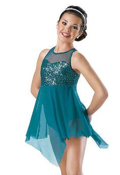 New WEISSMAN CATHEDRALS teal green ballet dance lyrical costume dress size M.