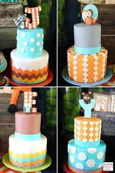 fondant cakes by Fancy Cakes with Custom woodland animal fondant toppers by Edible Details