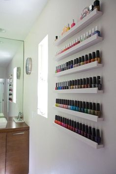 Make up organization & storage in master bedroom closet or bathroom with picture ledge. More picture ledge ideas. - Organised Pretty Home Ribba Picture Ledge, Picture Frames, Rangement Makeup, Nail Polish Storage, Nail Polish Racks, Organizing Nail Polish, Storing Nail Polish, Nail Polish Stand, Nail Polish Holder