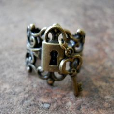 Lock and Key Steampunk Ring in Brass  by EnchantedLockets on Etsy, $18.00