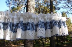 Vintage Blue Gingham Cafe Curtains  Boho by NopalitoVintageMore, $20.00