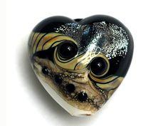 ON SALE 40% OFF Ravens Stardust Heart Focal Bead  Handmade