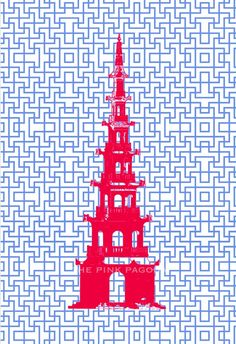 Red Pagoda on Blue Chinese Lattice 13x19 Giclee by thepinkpagoda, $40.00