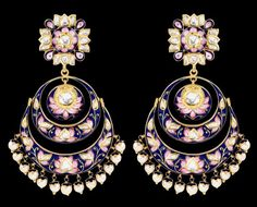 Shekhawat jewels Sunita Shekhawat Chand Balas earrings with pink and blue enamel. Sunitas very refined enamelwork sets her apart.Sunita Shekhawat Chand Balas earrings with pink and blue enamel. Sunitas very refined enamelwork sets her apart. India Jewelry, Ethnic Jewelry, Sunita Shekhawat, Traditional Indian Jewellery, Jewelry Accessories, Jewelry Design, Schmuck Design, Designer Earrings, Wedding Jewelry