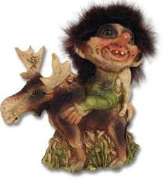 """Troll Riding on a Moose SKU: 42768 U$76 This little troll and his moose friend will happily look out for you and bring good luck! Molded of latex and hand-painted. 5 1/2"""" From Norway."""