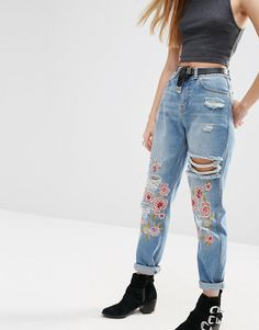 Image 1 of ASOS Original Mom Jeans in Mid Stonewash with Floral Embroidery and Rips