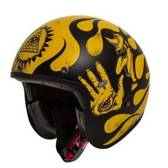 """PREMIER """"Le Petit Classic BD 12 BM"""". Minimalist open face motorcycle helmet with used look & handmade graphics. Comes with ECE standard."""