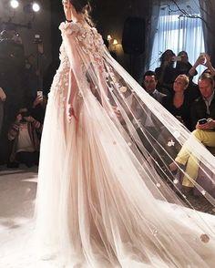 Floral appliqués + cape {Mira Zwillinger bridal gown at Bridal Fashion Week 2016}
