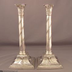Pair of George III Silver Candlesticks at J.H.Tee Antique Silver