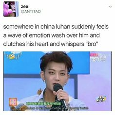 "Luhan was probably like. ""Tao😭😭😭😭😭 Someone understands"" Exo Ot12, Chanbaek, Kyungsoo, Chanyeol, Tao Exo, Kpop Memes, Xiuchen, Bts And Exo, Exo Members"