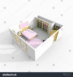 #3d #interior #rendering of #furnished #queen #size #bedroom