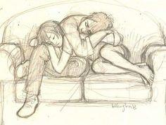 dibujo de parejas enamoradas descanso: