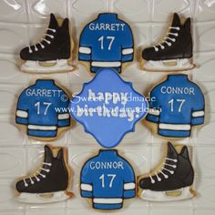 Sweet Handmade Cookies - these custom cookies were created two boys celebrating the big 1-7 as they took in a Buffalo Sabres vs Tampa Bay Lightning game.