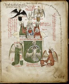 Alchemy    15th century  Forma Speculi Trinitae- in the centre two men crown a woman, beneath is a shield on  which a  woman supports the crucified body of Christ; at the four  corners are  the symbols of the Evangelists, Rhymed explanations in red  & black;  some also in Latin.