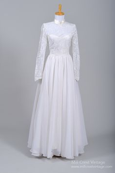 1970 Silk Embroidered Vintage Wedding Gown : Mill Crest Vintage