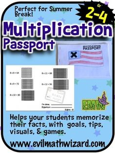 Multiplication passport - This is perfect for my 3rd graders to practice their multiplication facts over the summer. They keep track of their progress, includes tips, visuals, games, and qr codes to link to online activities.
