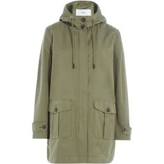 Closed Cotton Mix Parka ($285) ❤ liked on Polyvore featuring outerwear, coats, green, green hooded coat, green coat, hooded coats, drape coat and green hooded parka