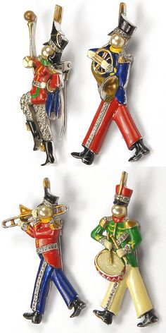 DuJay Marching Band Majorette, Trombonist, French Horn Player and Side Drummer set of Four Pin Clips