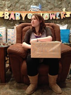 Baby Shower Game--Wrap a box up and have a hole in one end. Fill it with baby items. Guests then have a minute to feel around in the box  write down thier guesses.  The Mom to be then gets to open it  see who had the most correct. The guest gets a door prize  the Mom to be gets the items.