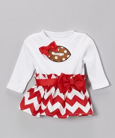 Red Zigzag Football Dress - Infant & Toddler by Caught Ya Lookin' on #zulily #ad *for daddy's little girl...