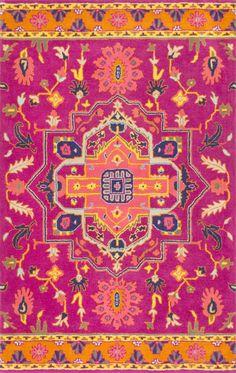 NuLoom Floral Medallion Ardith Maroon