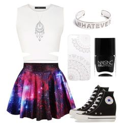 """""""Galaxy"""" by iam4lucy ❤ liked on Polyvore featuring BCBGMAXAZRIA, Converse, Monika Strigel, 1928 and Nails Inc."""