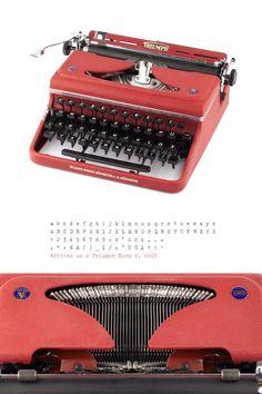 Schreibmaschine Triumph Norm 6 - Arbeiten der 50er - Jahre - Burgund rot - Vintage Schreibmaschine mit Koffer - portable