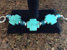 TURQUOISE TRIPLE CROSS Chunky Bracelet by DESIGNBYMONNY on Etsy, $14.95