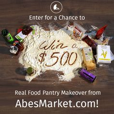 Enter to win a $500 shopping spree from Abe's Market! I'm doing the clean eating thing these days, and this looks like a great resource since its hard to find all the low preservative/processing foods I'd like around here. :)