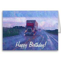 Big Rig Road Liner Truck Lover Birthday Card Rain Art