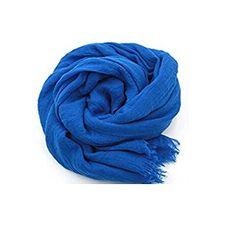 YOBOKO Fashion Scarf Shawl Linen Feel Scarf Solid Color Scarfs for Women (180 * 100cm, Blue)