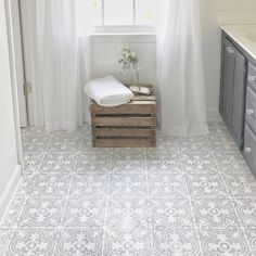 Decor N Tile Beauteous Love Thischalk Paint And Stenciling On A Linoleum Bathroom Inspiration