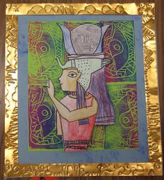 Ancient Egypt on printed background with repoussee  border