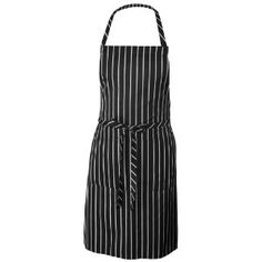 #9: Chef Works CSBA-BCS Chalk Stripe Bib Apron with Pockets, 34-1/4-Inch Length by 27-Inch Width, Black/White.