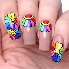 Pastel Nails, Acrylic Nails, Murakami Flower, Edgy Nails, Takashi Murakami, Fire Nails, Rainbow Flowers, Rainbow Nails, Flower Nail Art